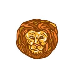 Lion Head Woodcut Linocut vector image vector image