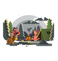 man and woman in camp near fire vector image vector image