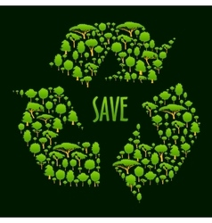 Recycling symbol with green trees and plants vector image vector image