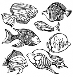 silhouettes of fishes vector image vector image