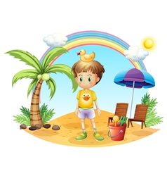 A young child with his toys near the coconut tree vector image vector image