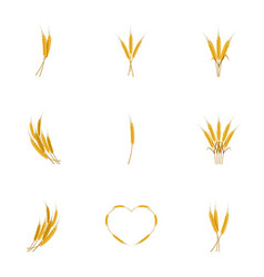 ears of wheat bread icons set cartoon style vector image