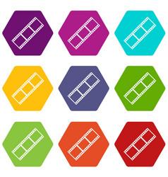 film strip icon set color hexahedron vector image vector image