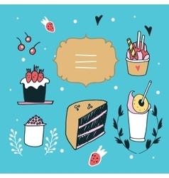 Hand drawn design element set delicious food vector image