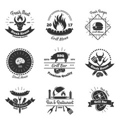 steakhouse vintage emblems set vector image vector image