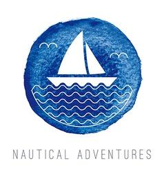 Watercolor nautical logo with a sailboat vector image vector image