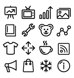 Web menu navigation line icons set - photo gallery vector image vector image