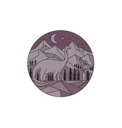 astronaut brontosaurus mountain moon circle mono vector image