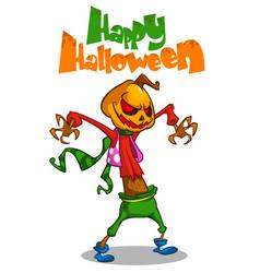 halloween scary pumpkin head scarecrow postcard vector image vector image