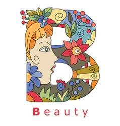 Letter B beauty vector image vector image