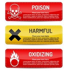 Poison Harmful Oxidizing - Danger sign set vector image vector image