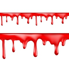 Red blood drips seamless patterns vector image