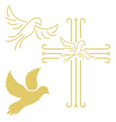 Christian cross with the dove in line style vector