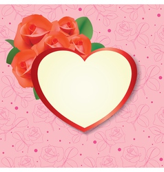 heart with roses on pink background vector image