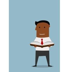 Intelligent businessman reading a book vector