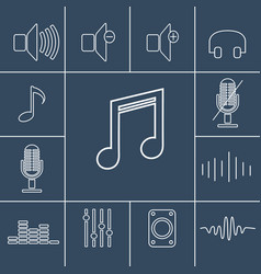 music outline icons set linear vector image