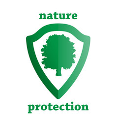 nature protection shield with a tree vector image vector image