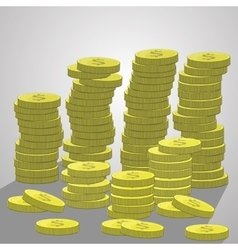 Stacks of coins a lot dollars vector image vector image
