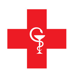 The red cross with the bowl of hygeia vector
