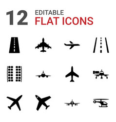12 airline icons vector
