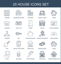 25 house icons vector image