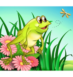 A hungry frog at garden vector
