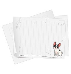 A musical paper with a dog vector image