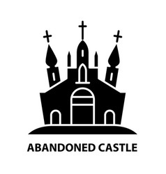Abandoned castle icon black sign vector