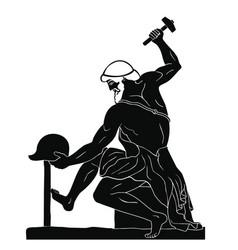 Ancient greek man blacksmith vector