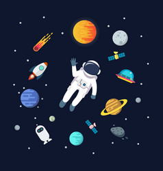 Astronaut man floating in space with planets vector