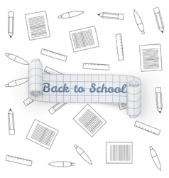 Back to School paper greeting Banner vector