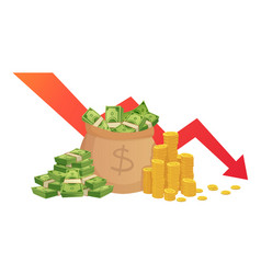 Bad finance graph loss financial savings vector