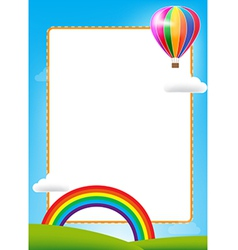 Balloon and rainbow with text box on blue sky vector image