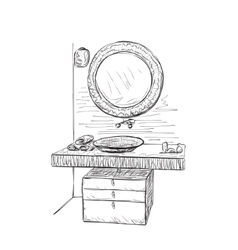 Bathroom interior elements Hand drawn mirror vector image