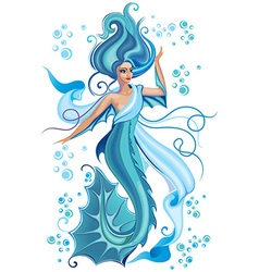 Beautiful blue mermaid vector