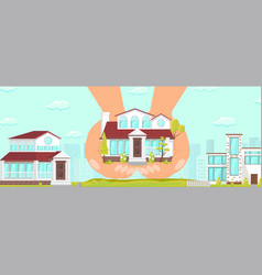 Beautiful cozy house elite area reliable building vector