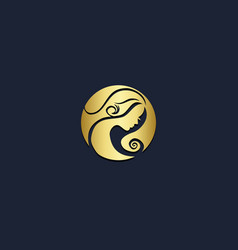 beauty hair salon gold logo vector image