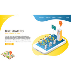 bike sharing landing page website template vector image