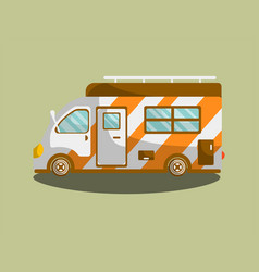 Camping van trailer or motorhome flat icon vector