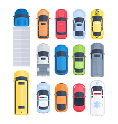 cartoon cars top view vector image