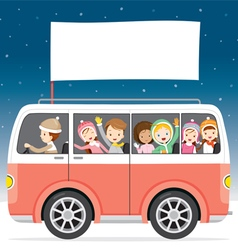 Children On Bus With Flag Driving To Travel vector
