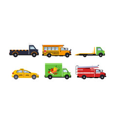 City transport set truck school bus tow truck vector