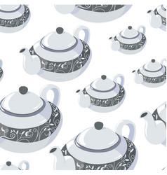 Classic teapot for tea serving decorative vector