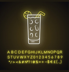 Cocktail in highball glass neon light icon summer vector