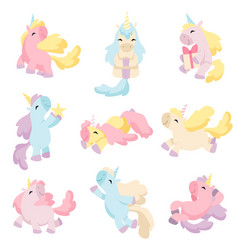 collection lovely unicorns cute magic fantasy vector image