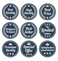 collection of black flat badges vector image