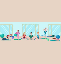 colorful yoga class flat concept vector image