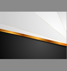 Contrast white black background with golden stripe vector