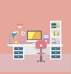 creative office room interior workspace vector image