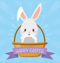 cute surprise rabbit in the basket vector image